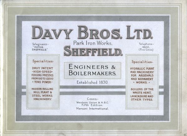 Davy Bros Ltd, Engineers and Boilermakers, Park Iron Works, Leveson Street, c. 1900