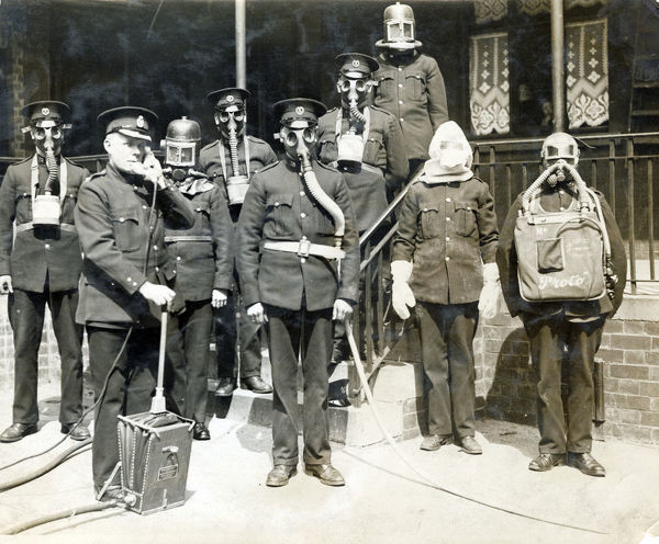City of Sheffield Fire Brigade. Firemen in breathing apparatus, 1920s