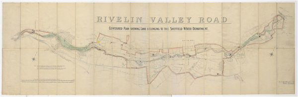 Full title: Contoured plan of Rivelin Valley Road shewing land belonging to the Sheffield Water Department, c. 1900 From an original at Sheffield Libraries: arc02953 Scale 25 inches : 1 mile. Surveyor: L. M. S. Marsh, Water Engineer