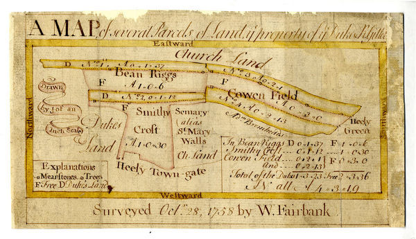 Full title: Map of several parcels of land, [the] property of [the] Duke of Norfolk and R. Gillot. Scale [3 chains : 1 inch] [26.6 inches : 1 mile] Surveyor: William Fairbank I. Several strips and a close between Heeley Town Gate and Heeley Green