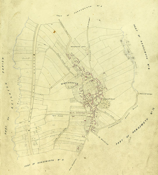 Includes Birley Vale Branch railway, Woodhouse Leys. From a volume of maps of the parish of Handsworth, based on the enclosure award maps (1805) and corrected up to 1855. Dimensions of original: 34 x 51 cm. From an original at Sheffield Libraries