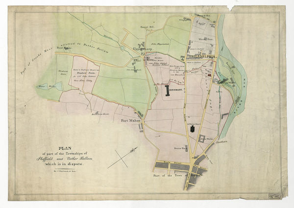 Plan of part of the townships of Sheffield and Nether Hallam, Sheffield, c.1826