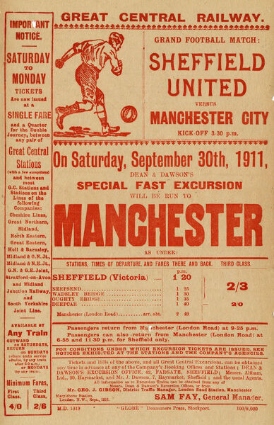 Special fast train excursion to Sheffield United v Manchester City, 1911