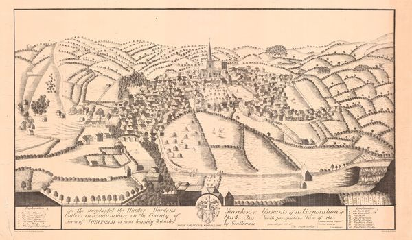 Full title: To the Worshipful the Master, Wardens, Searchers and Assistants of the Corporation of the Cutlers in Hallamshire in the County of York, this North Perspective View of the Town of Sheffield is most humbly dedicated by Gentlemen, c