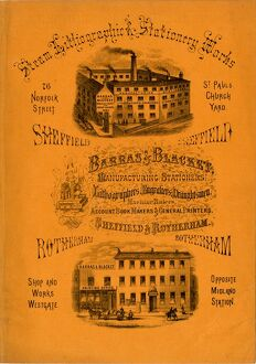 Advertisement for Barras and Blacket Manufacturing Stationers 76 Norfolk Street, Sheffield