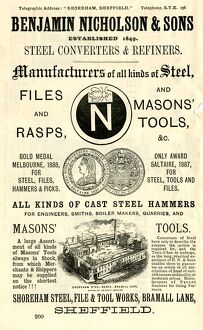 Advertisement for Benjamin Nicholson and Sons, steel converters and refiners, Shoreham Steel
