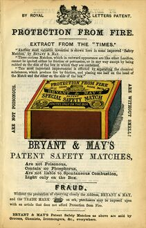Advertisement for Bryant and May Matches, 1868