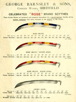 Advertisement for celebrated Rose brand scythes by George Barnsley and Sons, Cornish Works