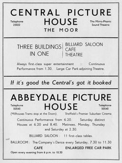 Advertisement for Central Picture House, The Moor and Abbeydale Picture House, Abbeydale Road