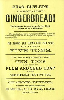 Advertisement for Charles Butler's unequalled gingerbread - the amount sold during