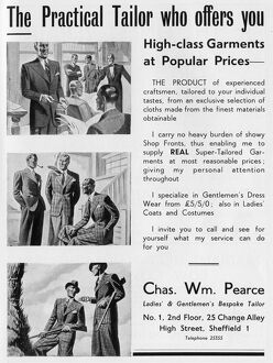 Advertisement for Chas. Wm. Pearce, Ladies and Gentlemens Bespoke Tailor, 25 Change Alley