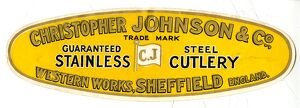 Advertisement: Christopher Johnson and Co., Cutlery, Western Works, Portobello Street