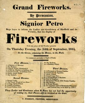 advertisement for a display of Grand Fireworks by Signior Petro in the Green ajoining