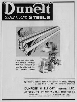 Advertisement for Dunelt Alloy and Straight Carbon Steels, Wharf Steelworks, Chippenham Street