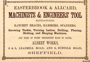 Advertisement for Easterbrook and Allcard, Machinist and Engineers' Tools Manufacturers