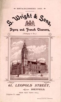Advertisement for G. Wright, Dyers and French Cleaners, 61 Leopold Street, Sheffield