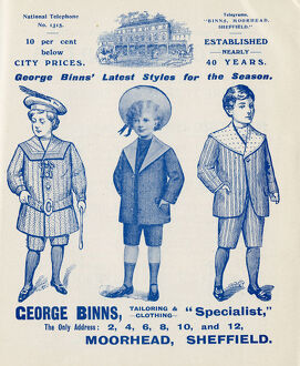Advertisement for George Binns, tailoring and clothing, 2-12 Moorheadm Sheffield