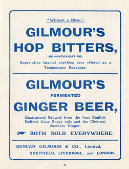 Advertisement for Gilmour's Hop Bitters (temperance beverage) and ginger beer