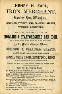 Advertisement for Henry H Earl, Iron Merchant, Bowling Iron Warehouse, Orchard Street