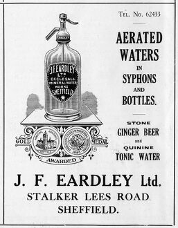 Advertisement for J. F. Eardley Ltd., Manufacturers of Aerated Waters etc