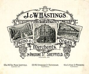 Advertisement for J. and W. Hastings, Piano and Organ Merchants, 24 Pinstone Street