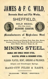 Advertisement for James and F. C. Wild., steel manufacturers, Borussia Steel and File Works