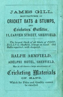 Advertisement for James Gill, manufacturer of crickets bats and stumps, etc; also