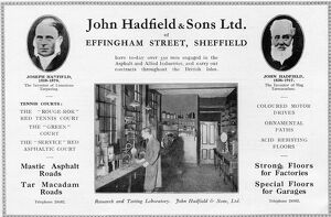 Advertisement for John Hadfield and Sons Ltd taken from 'An Illustrated Record of Building