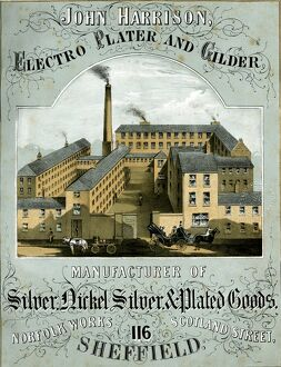 Advertisement for John Harrison, Eletro Plater and Gilder and manufacturer of Silver Nickel