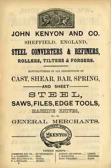 Advertisement for John Kenyon and Co., Steel Converters and Refiners, General Merchants