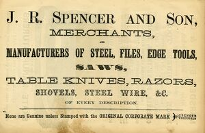 Advertisement for John R. Spencer and Son, Albion Steel Works, Pea Croft (later known