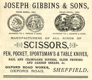 Advertisement for Joseph Gibbins and Sons and Sons, scissor and knife manufacturers