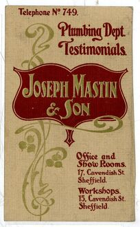 Advertisement for Joseph Mastin and Son, Builders, etc., Cavendish Street, Sheffield