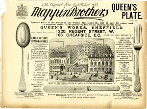 Advertisement for Mappin Brothers, Queens Works, corner of Pond Street / Bakers Hill