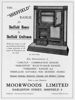 Advertisement for Moorwoods Limited, Kitchen Ranges, Harleston Road, 1939