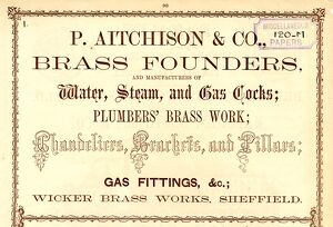 Advertisement for P. Aitchinson and Co., Brass Founders, Makers of Water, Steam, and Gas Cocks, etc
