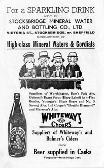 Advertisement for Stocksbridge Mineral Water and Bottling Company Ltd., Victoria Street