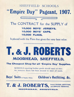 Advertisement for T and J Roberts, the cheapest shop for all Empire Day supplies