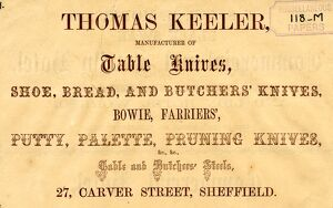Advertisement for Thomas Keeler manufacturer of Table Knives, etc., 27 Carver Street, 1858
