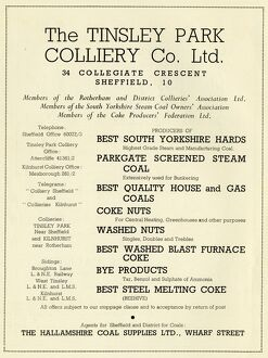 Advertisement for Tinsley Park Colliery Co. Ltd., 34 Collegiate Cresent, 1939