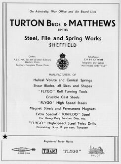 Advertisement for Turton Bros and Matthews, Ltd, Steel, File and Spring Works, Burton Road