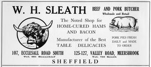 Advertisement for W. H. Sleath, Beef and Pork Butcher, 107 Ecclesall Road South
