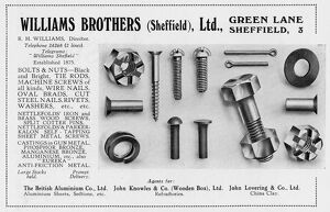 Advertisement for Williams Brothers (Sheffield), Ltd., Green Lane, 1939
