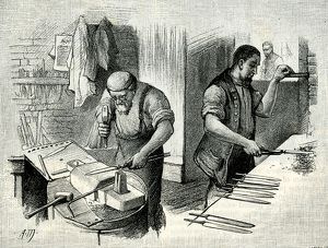 A Blade-Forging Shop from a drawing by A. Morrow, 1884