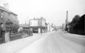 Brook Hill at the junction with Brightmore Street. Chimney belongs to Jessop Hospital