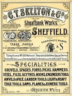 C. T. Skelton, Sheafbank Works, Edge Tool Manufacturers, Heeley, Sheffield, 1896
