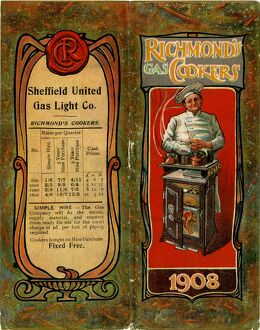 Calendar for 1908 with advertisement for Sheffield United Gas Company and Richmond