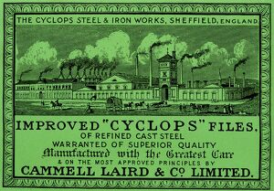 Cammell Laird and Co Ltd., label for improved Cyclops files, c. 1915