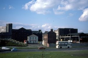 General View of Canal Basin Properties from Sheaf Roundabout, 1977