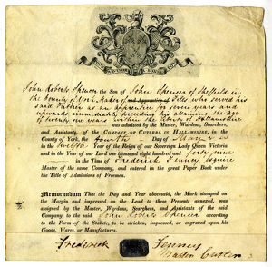 Certificate of admittance to the Company of Cutlers in Hallamshire of John Roberts Spencer